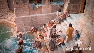Jesus sana a un paralítico en el estanque de Betesda en el día de reposo