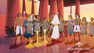 ilustración de: Jose corta los sacos de trigo de sus hermanos en busca de su copa de plata