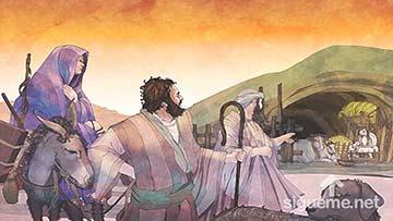 ilustración de: José y María llegan al establo donde dio a luz al niño Jesús