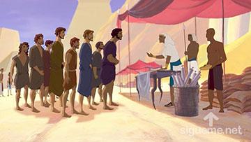 ilustración de: Los hermanos de Jose llegan a Egipto