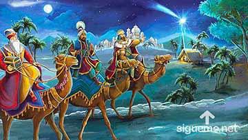 ilustración de: Los tres Reyes Magos llegan a Belén guiados por una estrella