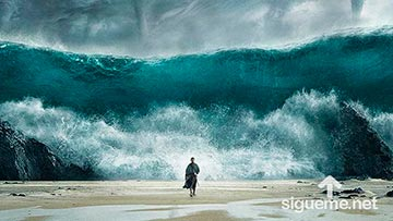 Moises abriendo las aguas del Mar Rojo