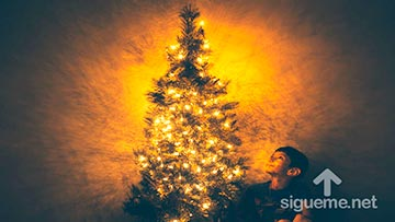 Un Niño contempla el árbol de Navidad