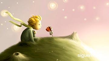 Ninño sobre un astro mirando una flor, reflexion