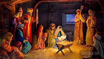 Pesebre de Navidad en el Nacimiento de Jesus