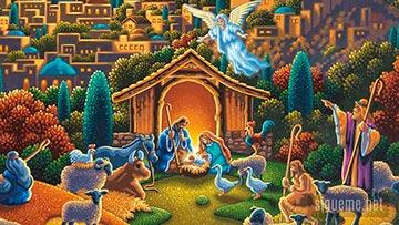 Pesebre de Navidad, con Maria, Jose y el niño Jesus