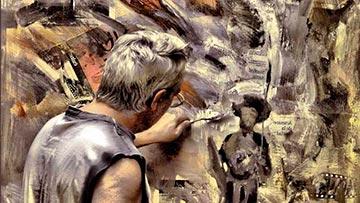 Pintor pintando un cuadro en su atelier