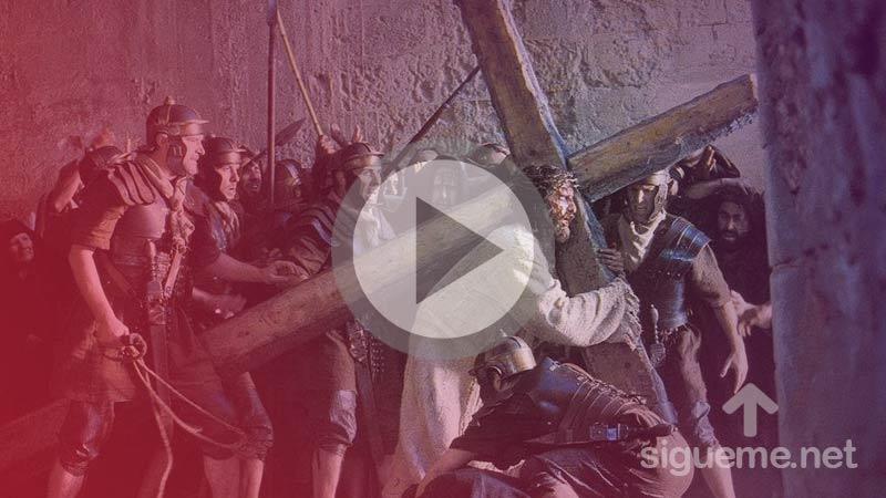 Jesus cargando la cruz en la pelicula la Pasion de Cristo de Mel Gibson